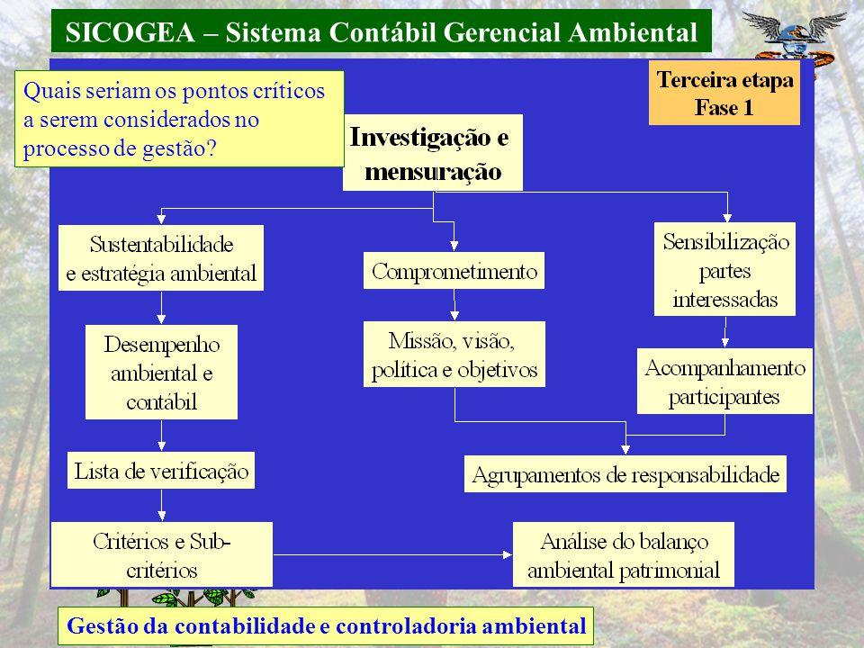 SICOGEA – Sistema Contábil Gerencial Ambiental Gestão da contabilidade e controladoria ambiental Quais seriam os pontos críticos a serem considerados