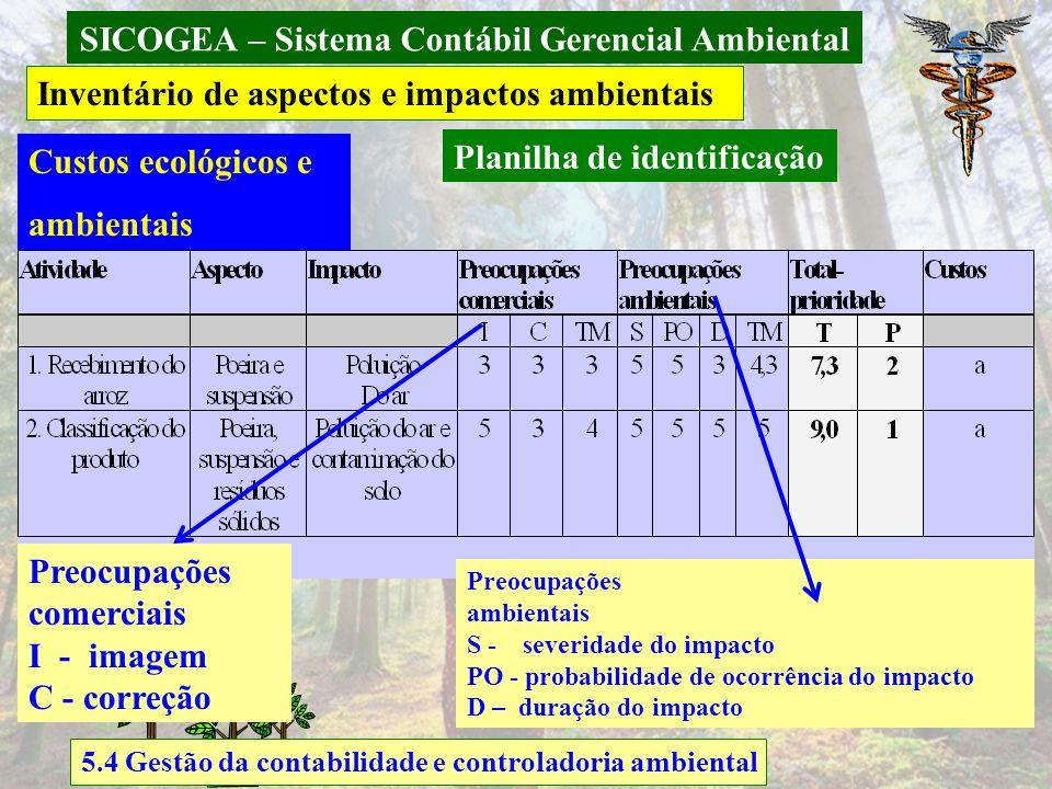 SICOGEA – Sistema Contábil Gerencial Ambiental 5.4 Gestão da contabilidade e controladoria ambiental Inventário de aspectos e impactos ambientais Plan