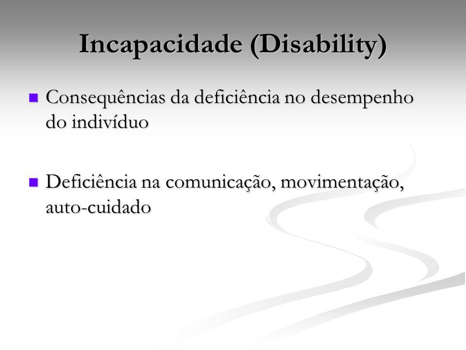 Incapacidade (Disability) Consequências da deficiência no desempenho do indivíduo Consequências da deficiência no desempenho do indivíduo Deficiência na comunicação, movimentação, auto-cuidado Deficiência na comunicação, movimentação, auto-cuidado