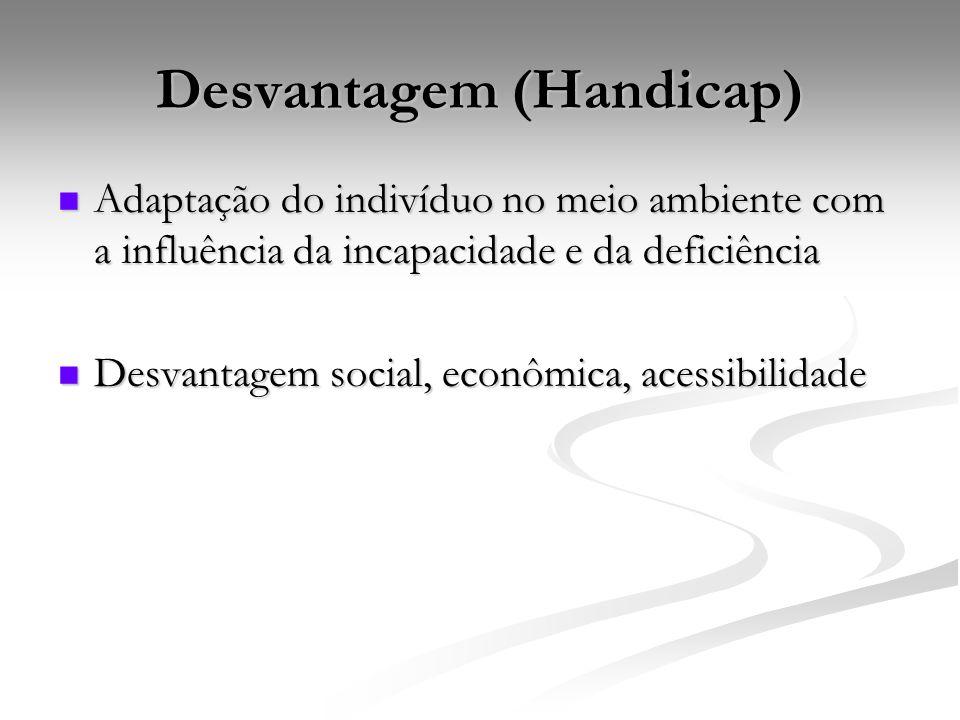 Desvantagem (Handicap) Adaptação do indivíduo no meio ambiente com a influência da incapacidade e da deficiência Adaptação do indivíduo no meio ambiente com a influência da incapacidade e da deficiência Desvantagem social, econômica, acessibilidade Desvantagem social, econômica, acessibilidade