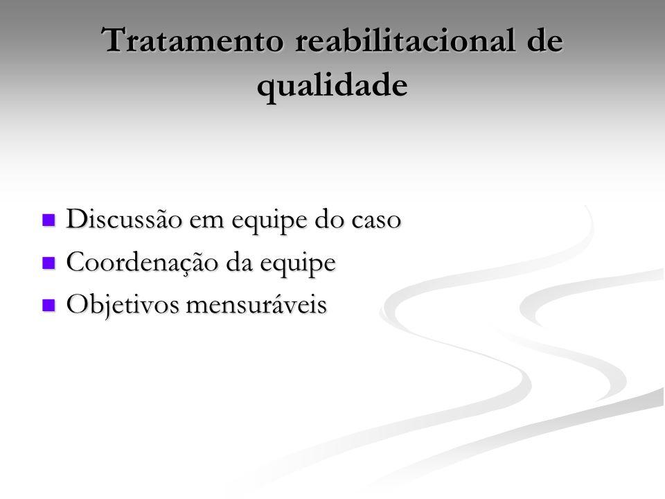 Tratamento reabilitacional de qualidade Discussão em equipe do caso Discussão em equipe do caso Coordenação da equipe Coordenação da equipe Objetivos mensuráveis Objetivos mensuráveis