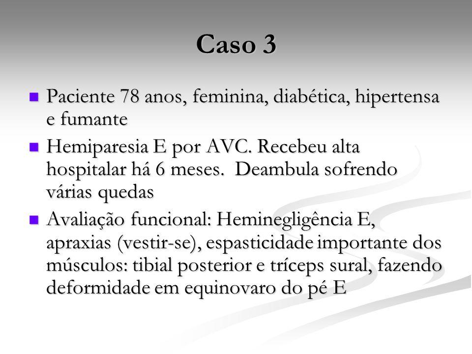 Caso 3 Paciente 78 anos, feminina, diabética, hipertensa e fumante Paciente 78 anos, feminina, diabética, hipertensa e fumante Hemiparesia E por AVC.