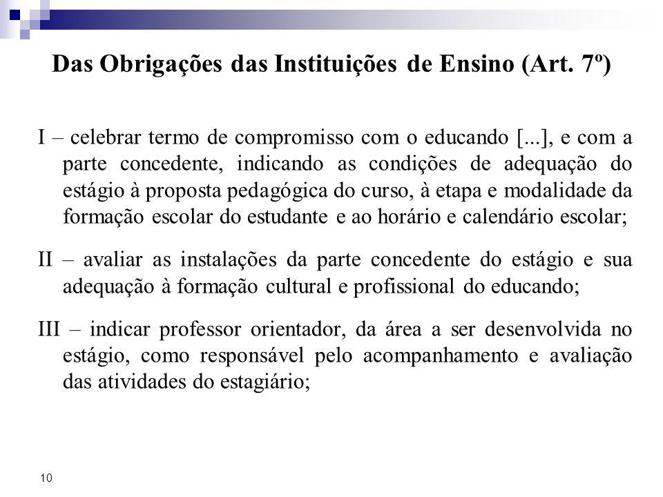 10 Das Obrigações das Instituições de Ensino (Art.