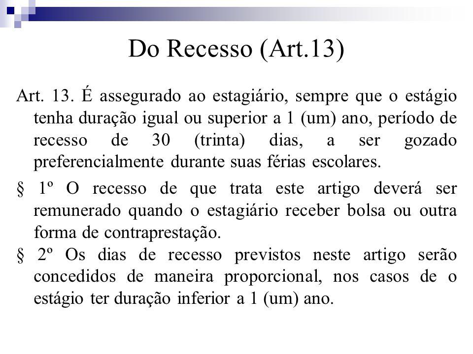 Do Recesso (Art.13) Art.13.