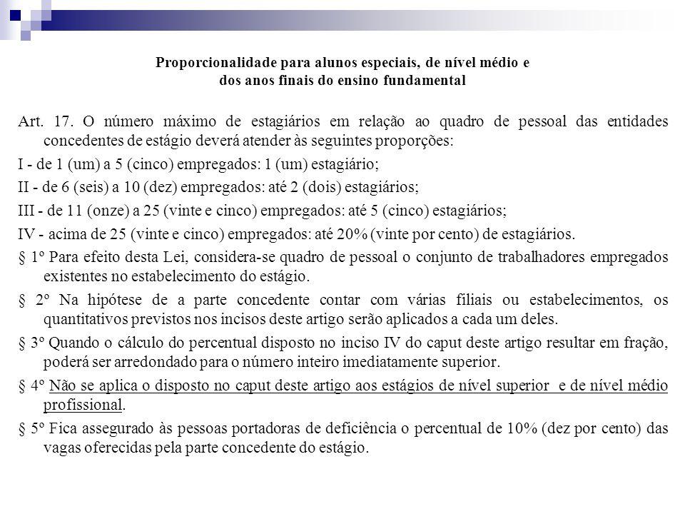 Proporcionalidade para alunos especiais, de nível médio e dos anos finais do ensino fundamental Art.