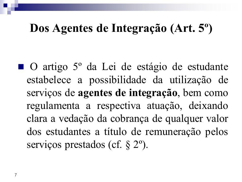 7 Dos Agentes de Integração (Art.