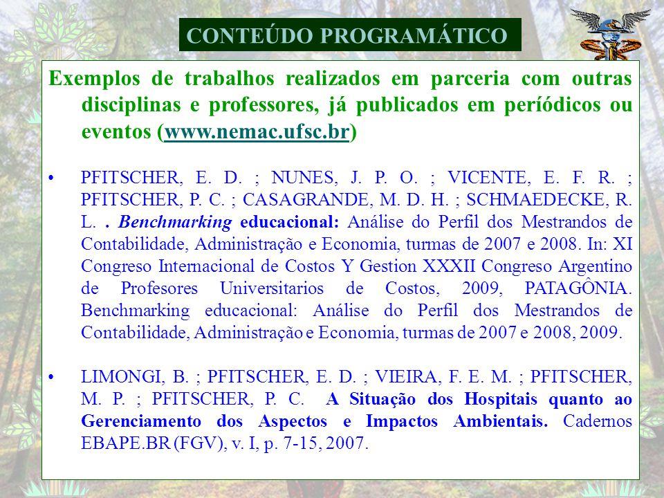 CONTEÚDO PROGRAMÁTICO Exemplo de trabalhos realizados em parceria com outras disciplinas e professores, já publicados em periódicos ou eventos (www.ne