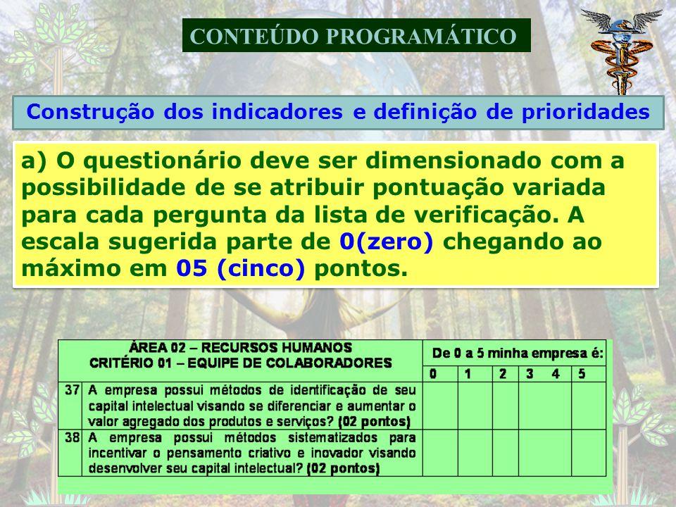 CONTEÚDO PROGRAMÁTICO a) Eleger grupos-chave que possam abrigar subgrupos de questões. Sugere-se que os grupos-chave reflitam a estrutura organizacion