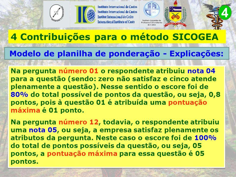 4 b) Seja desenvolvida em planilha que possibilite a ponderação das respostas encontradas na lista de verificação 4 Contribuições para o método SICOGE