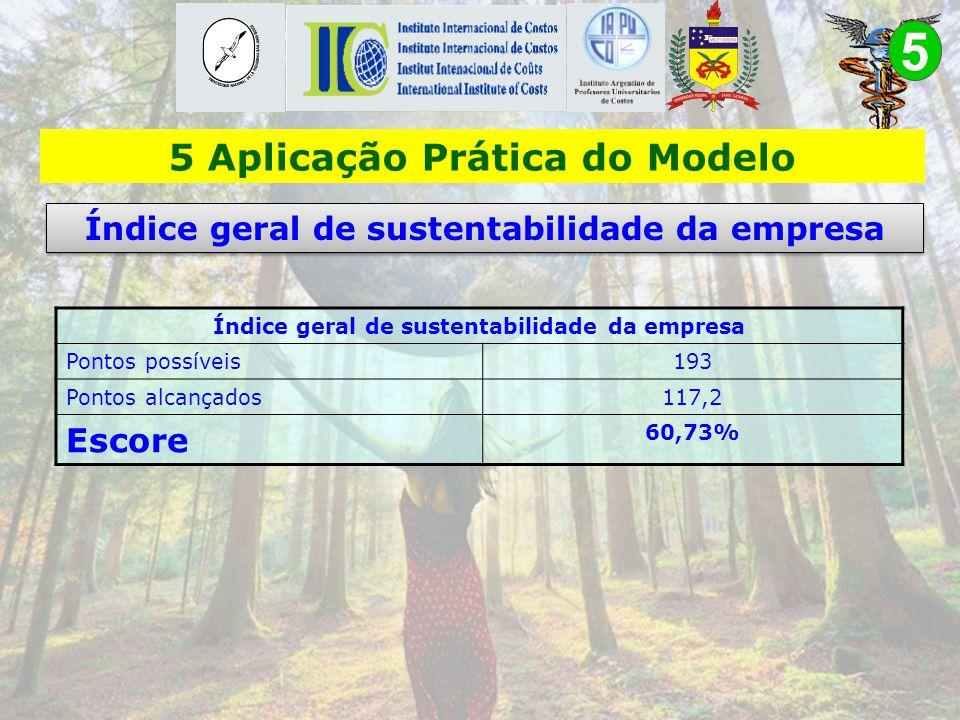 5 APLICAÇÃO PRÁTICA DO MODELO 5.1. Análise dos dados coletados Neste item serão analisados os seguintes indicadores: - Índice geral de sustentabilidad