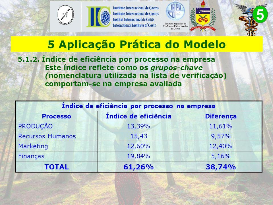 5 Índice geral de sustentabilidade da empresa Pontos possíveis193 Pontos alcançados117,2 Escore 60,73% 5 Aplicação Prática do Modelo