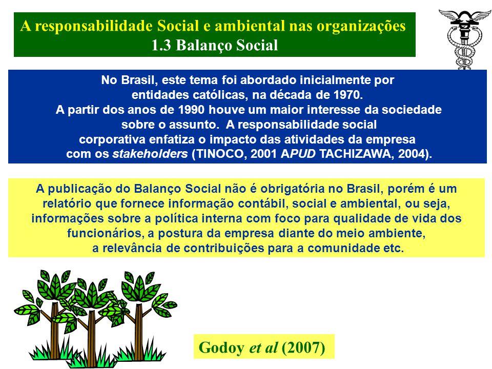 A responsabilidade Social e ambiental nas organizações. 1.3 Balanço Social Godoy et al (2007) A Responsabilidade Social, nos últimos tempos, vem sendo