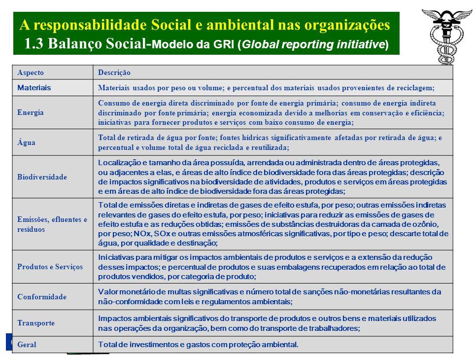 A responsabilidade Social e ambiental nas organizações. 1.3 Balanço Social- Modelo da GRI (Global reporting initiative) Godoy et al (2007) Seis catego