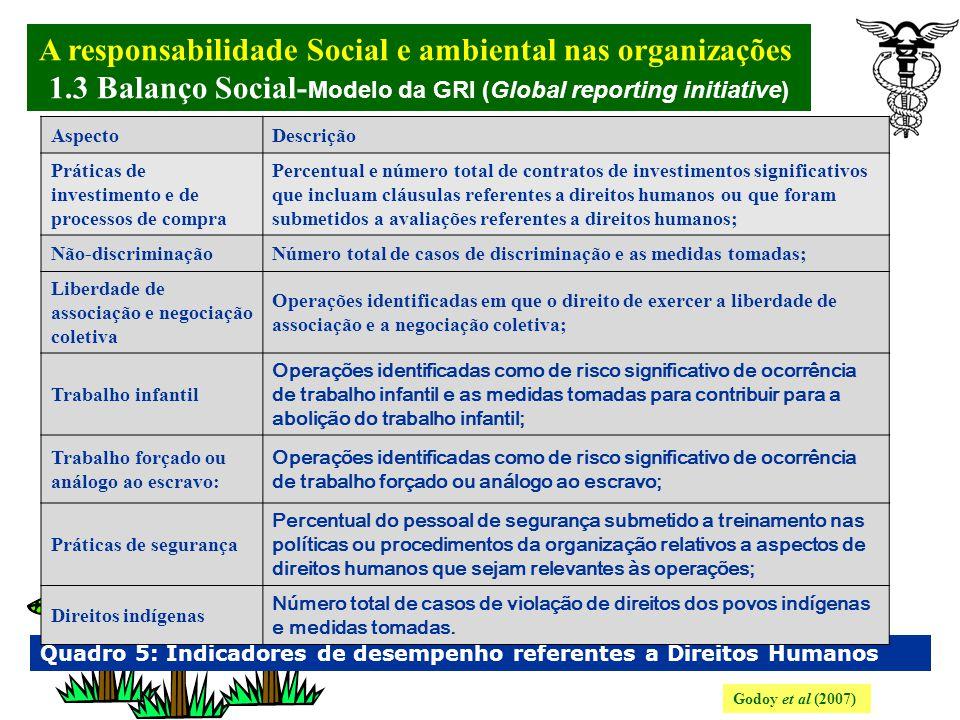 A responsabilidade Social e ambiental nas organizações. 1.3 Balanço Social- Modelo da GRI (Global reporting initiative) Godoy et al (2007) Quadro 4: I