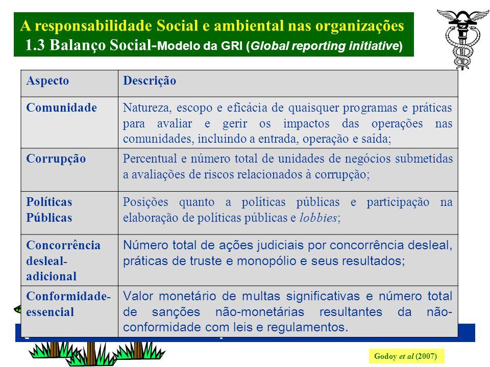 A responsabilidade Social e ambiental nas organizações. 1.3 Balanço Social- Modelo da GRI (Global reporting initiative) Godoy et al (2007) Quadro 5: I
