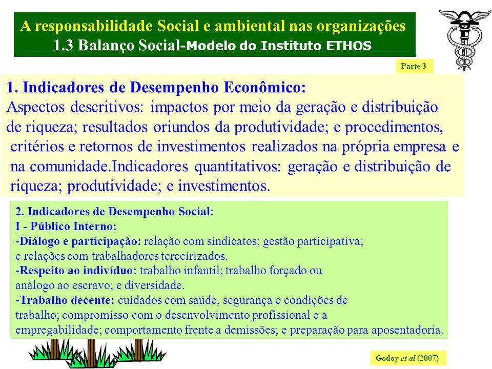 A responsabilidade Social e ambiental nas organizações. 1.3 Balanço Social- Modelo do Instituto ETHOS Godoy et al (2007) Baseado num relatório detalha
