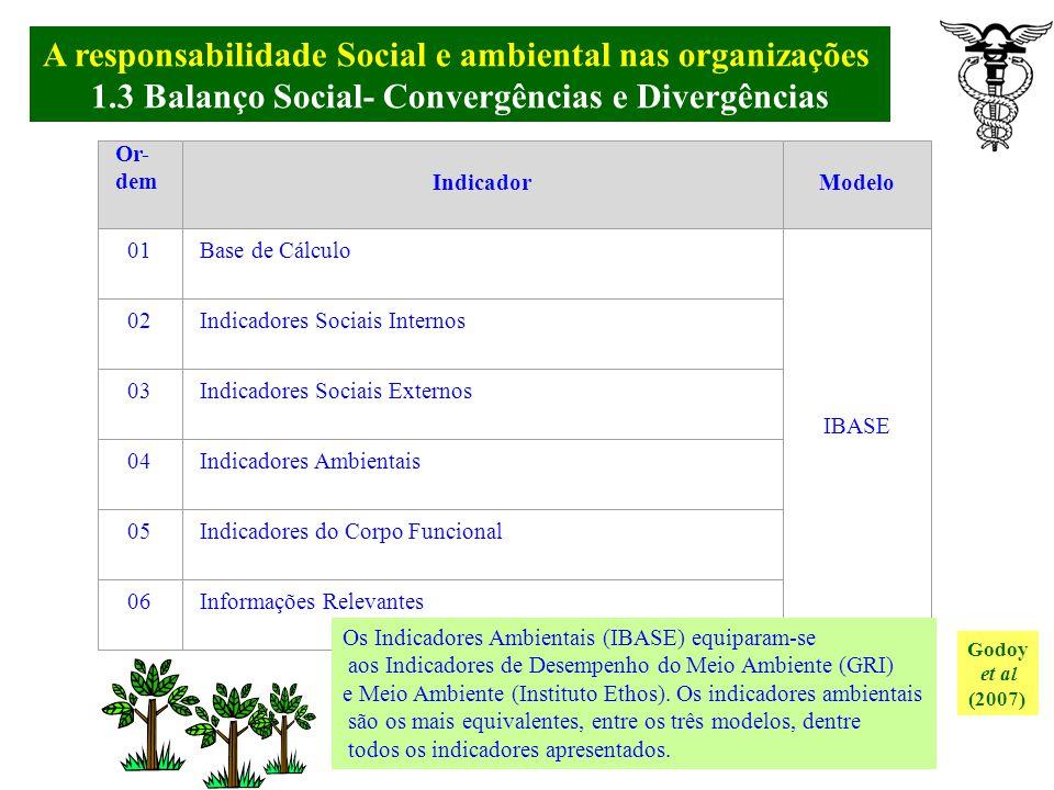 A responsabilidade Social e ambiental nas organizações. 1.3 Balanço Social- Modelo do Instituto ETHOS Godoy et al (2007) IV - Consumidores e Clientes