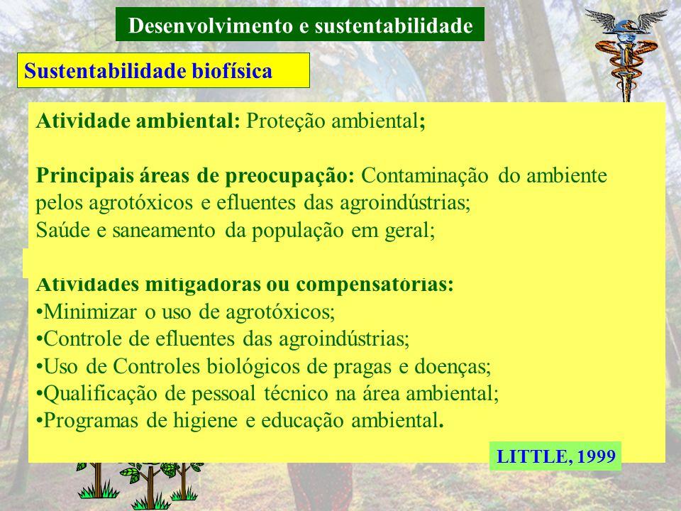 Desenvolvimento e sustentabilidade Sustentabilidade biofísica LITTLE, 1999 Preocupação quanto ao uso de agrotóxicos, ao desmatamento e a proteção da b