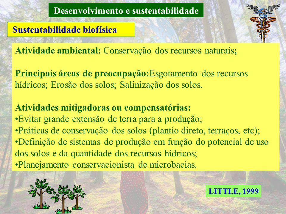 Desenvolvimento e sustentabilidade Sustentabilidade biofísica Atividade ambiental: Proteção ambiental; Principais áreas de preocupação: Contaminação d