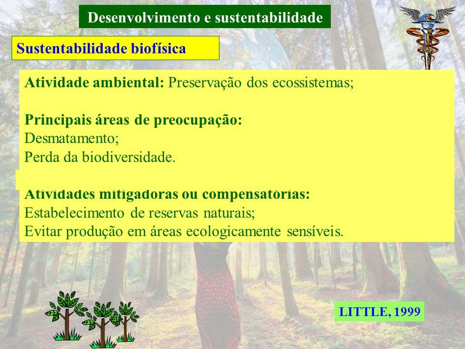 Desenvolvimento e sustentabilidade Sustentabilidade biofísica Atividade ambiental: Conservação dos recursos naturais; Principais áreas de preocupação: