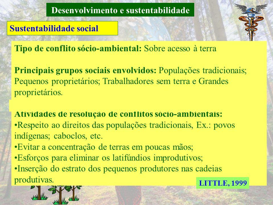 Desenvolvimento e sustentabilidade Sustentabilidade biofísica Atividade ambiental: Preservação dos ecossistemas; Principais áreas de preocupação: Desm