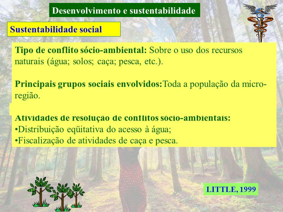 Desenvolvimento e sustentabilidade Sustentabilidade social Tipo de conflito sócio-ambiental: Sobre acesso à terra Principais grupos sociais envolvidos