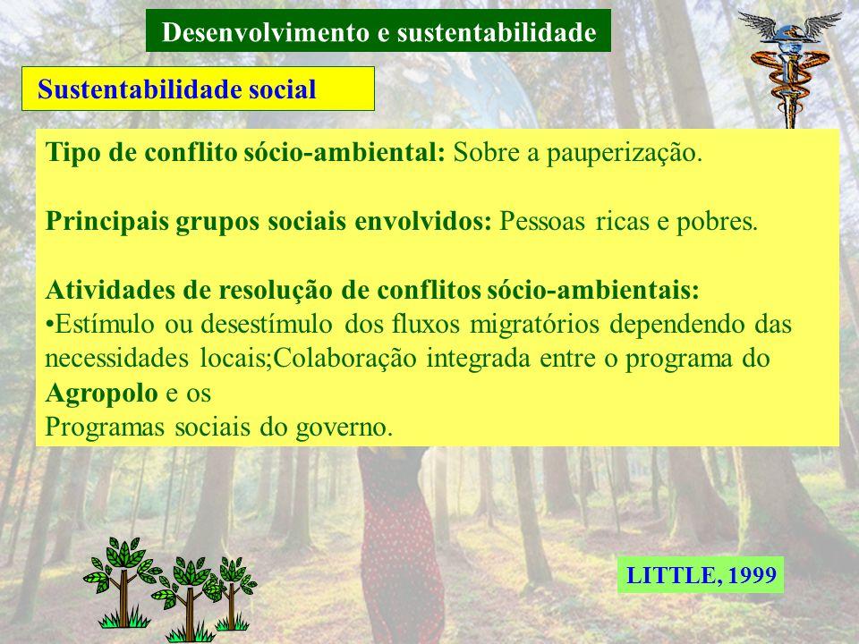 Desenvolvimento e sustentabilidade Sustentabilidade social Tipo de conflito sócio-ambiental: Sobre os recursos humanos. Principais grupos sociais envo