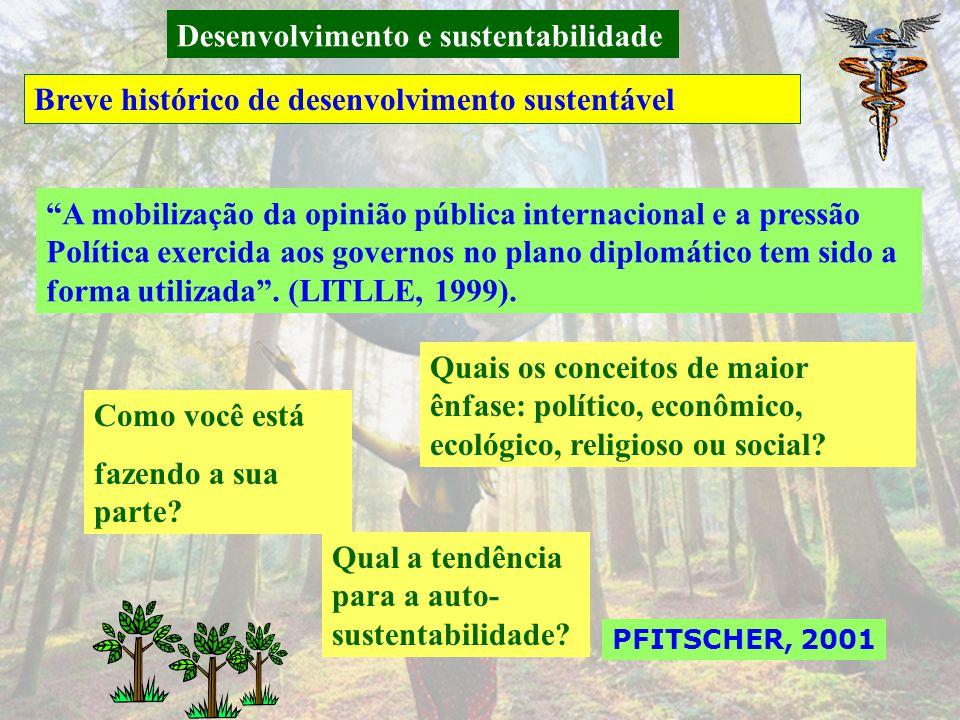 Desenvolvimento e sustentabilidade Breve histórico de desenvolvimento sustentável PFITSCHER, 2001 Em 1997, reunião Kyoto (Japâo) pouco progresso no Cu