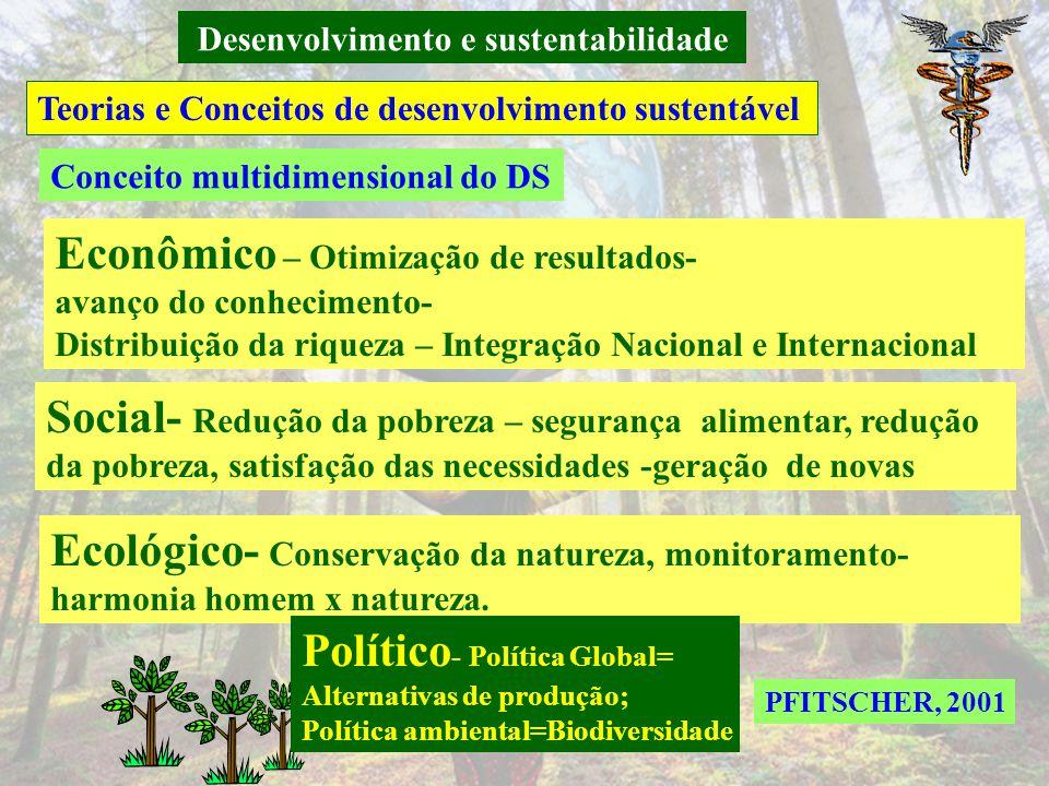 Desenvolvimento e sustentabilidade Teorias e Conceitos de desenvolvimento sustentável PFITSCHER, 2001 O Conceito de DS vem de dois enfoques: social e