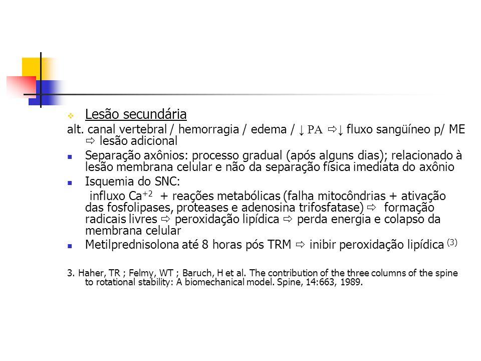 Lesão secundária alt. canal vertebral / hemorragia / edema / PA fluxo sangüíneo p/ ME lesão adicional Separação axônios: processo gradual (após alguns
