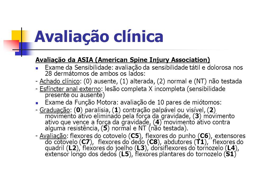Avaliação clínica Avaliação da ASIA (American Spine Injury Association) Exame da Sensibilidade: avaliação da sensibilidade tátil e dolorosa nos 28 der
