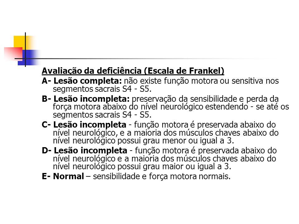 Avaliação da deficiência (Escala de Frankel) A- Lesão completa: não existe função motora ou sensitiva nos segmentos sacrais S4 - S5. B- Lesão incomple