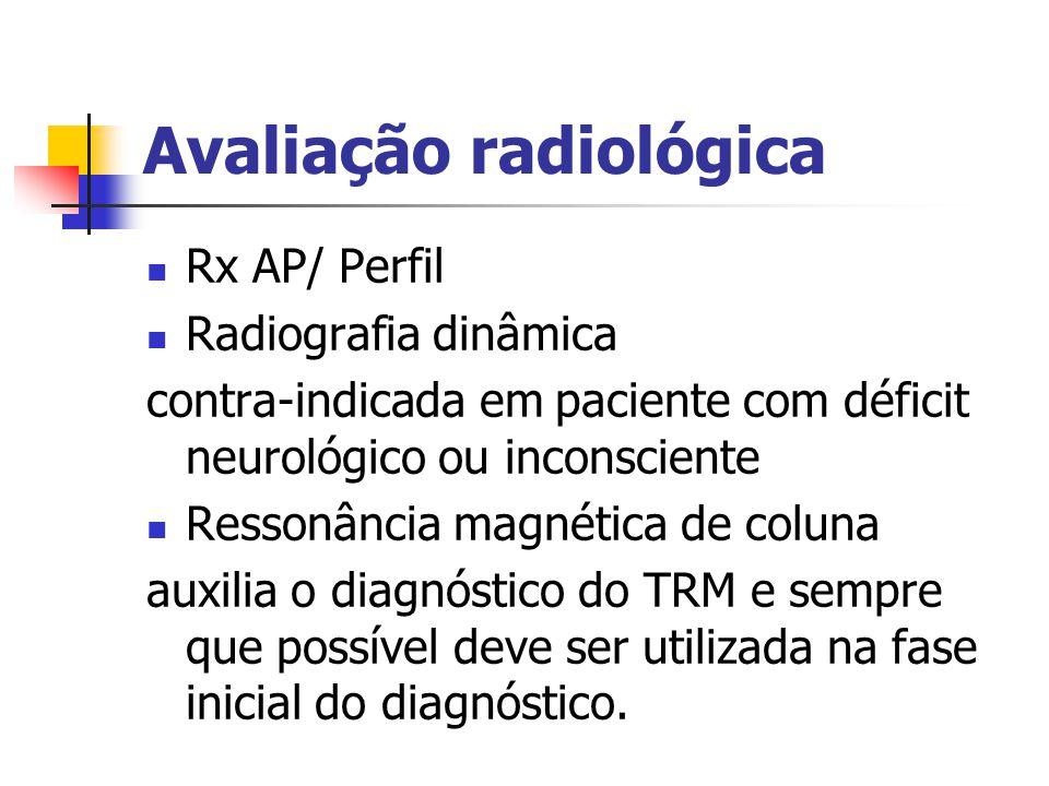 Avaliação radiológica Rx AP/ Perfil Radiografia dinâmica contra-indicada em paciente com déficit neurológico ou inconsciente Ressonância magnética de