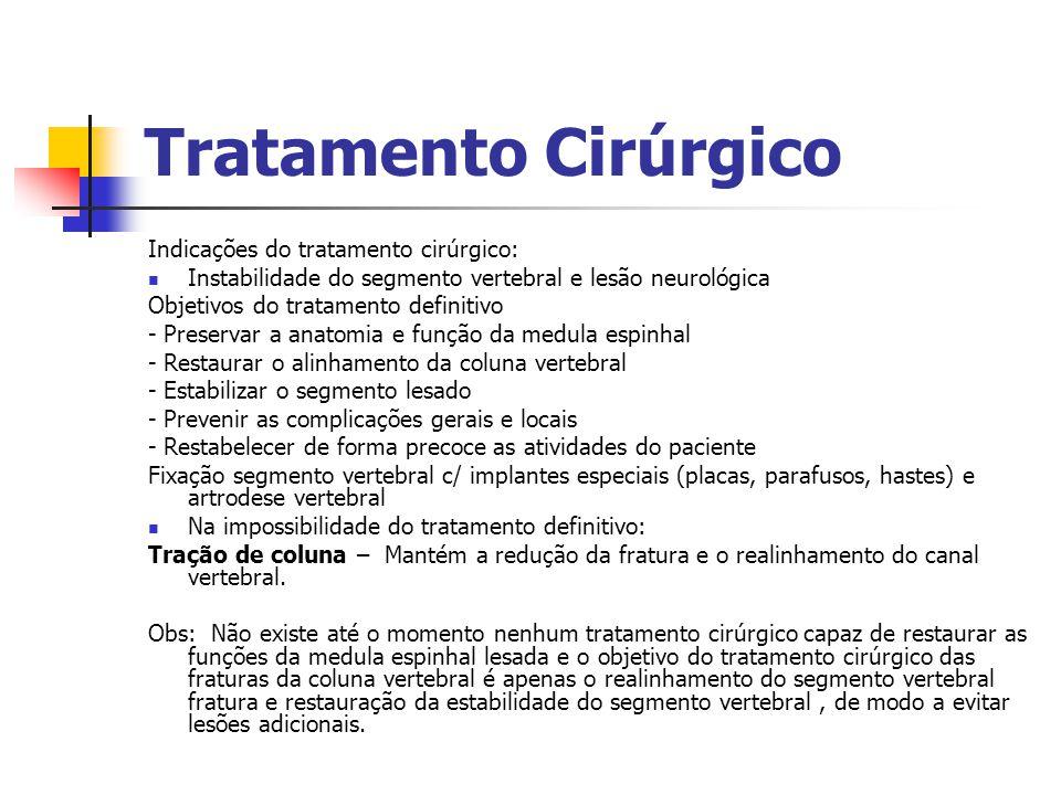 Tratamento Cirúrgico Indicações do tratamento cirúrgico: Instabilidade do segmento vertebral e lesão neurológica Objetivos do tratamento definitivo -