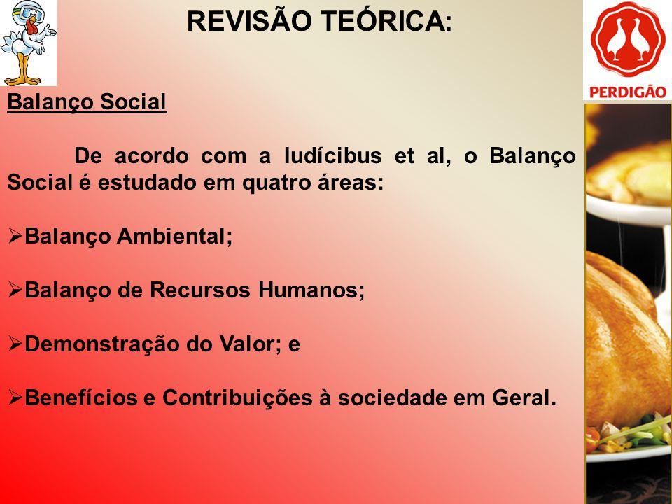 REVISÃO TEÓRICA: Balanço Social De acordo com a Iudícibus et al, o Balanço Social é estudado em quatro áreas: Balanço Ambiental; Balanço de Recursos H