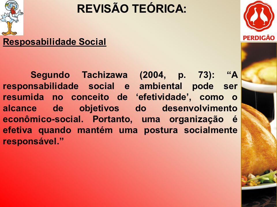 REVISÃO TEÓRICA: Resposabilidade Social Segundo Tachizawa (2004, p. 73): A responsabilidade social e ambiental pode ser resumida no conceito de efetiv