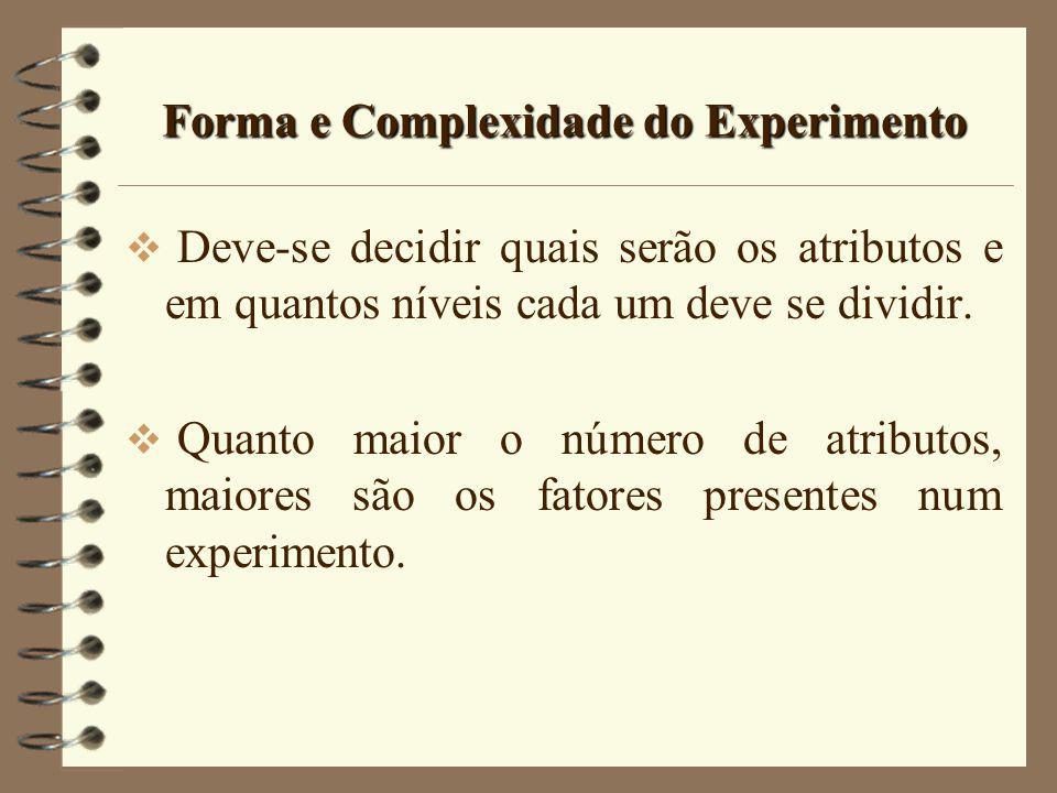 Forma e Complexidade do Experimento Deve-se decidir quais serão os atributos e em quantos níveis cada um deve se dividir. Quanto maior o número de atr