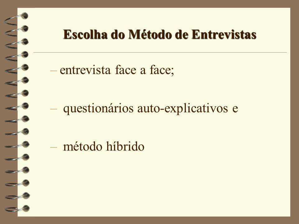 Escolha do Método de Entrevistas –entrevista face a face; – questionários auto-explicativos e – método híbrido