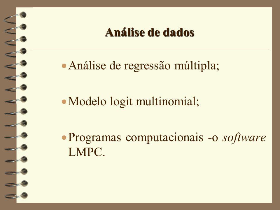 Análise de dados Análise de regressão múltipla; Modelo logit multinomial; Programas computacionais -o software LMPC.