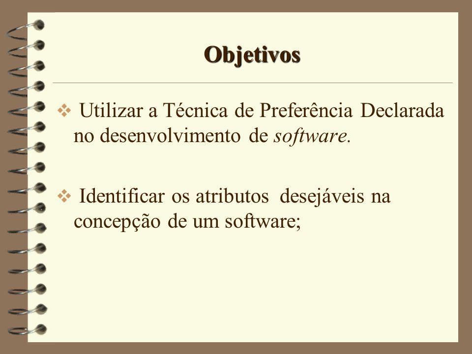 Objetivos Utilizar a Técnica de Preferência Declarada no desenvolvimento de software. Identificar os atributos desejáveis na concepção de um software;