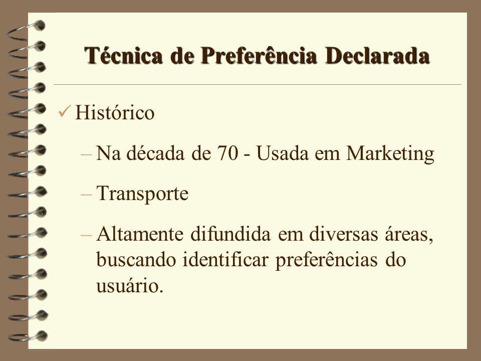 Técnica de Preferência Declarada Histórico –Na década de 70 - Usada em Marketing –Transporte –Altamente difundida em diversas áreas, buscando identifi