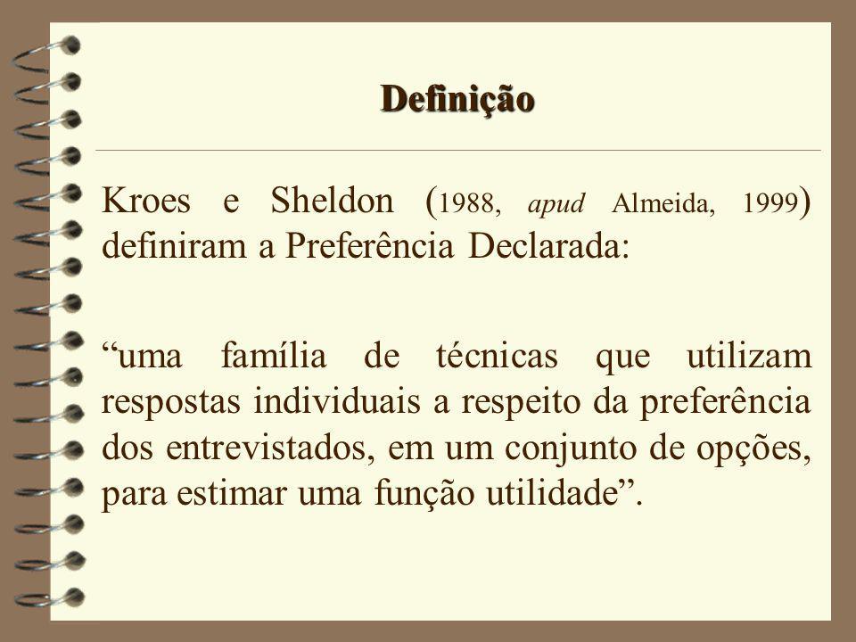Definição Kroes e Sheldon ( 1988, apud Almeida, 1999 ) definiram a Preferência Declarada: uma família de técnicas que utilizam respostas individuais a