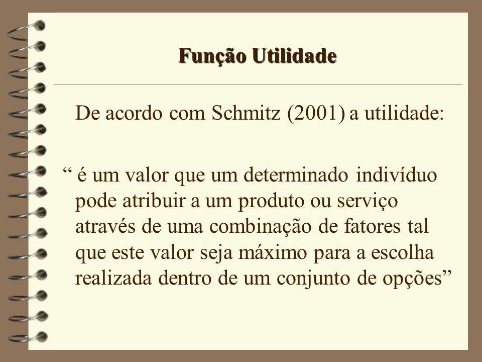 Função Utilidade De acordo com Schmitz (2001) a utilidade: é um valor que um determinado indivíduo pode atribuir a um produto ou serviço através de um