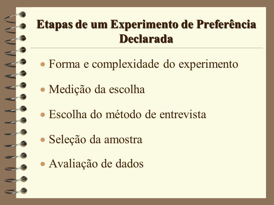 Etapas de um Experimento de Preferência Declarada Forma e complexidade do experimento Medição da escolha Escolha do método de entrevista Seleção da am