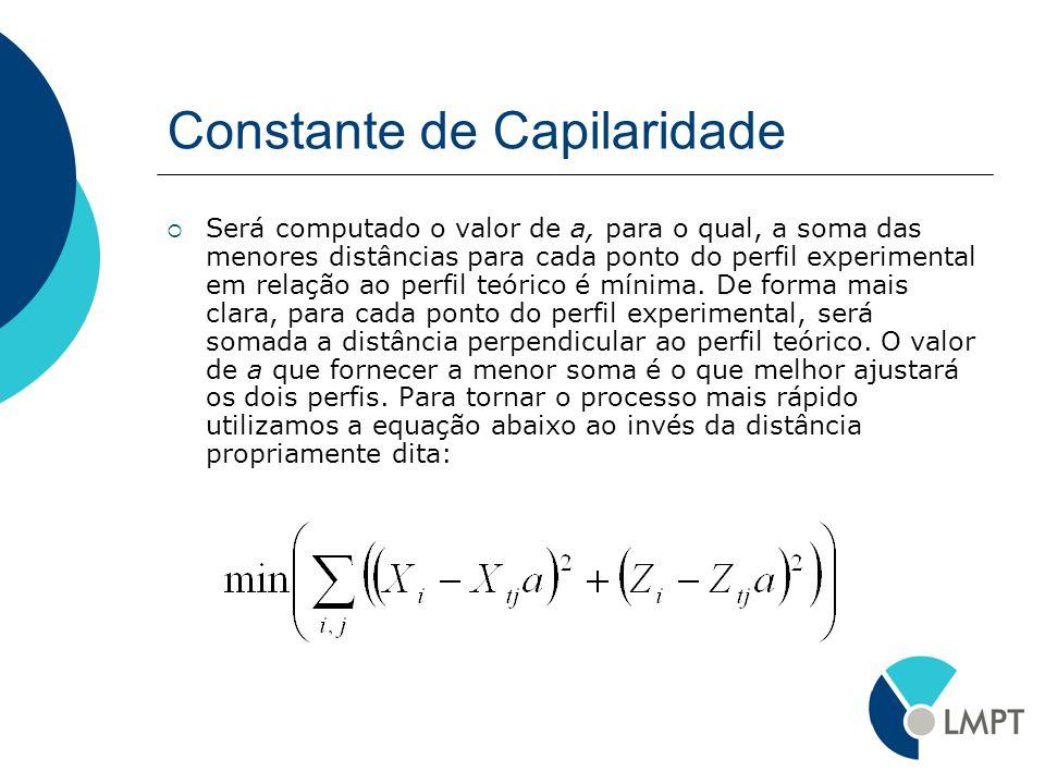 Constante de Capilaridade Será computado o valor de a, para o qual, a soma das menores distâncias para cada ponto do perfil experimental em relação ao