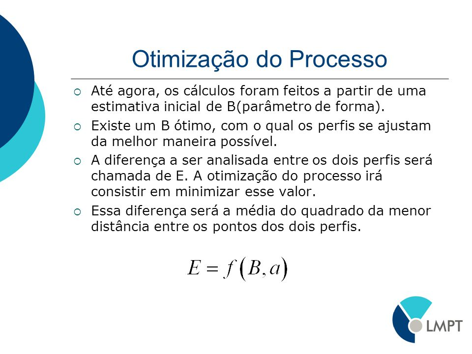 Otimização do Processo Até agora, os cálculos foram feitos a partir de uma estimativa inicial de B(parâmetro de forma). Existe um B ótimo, com o qual