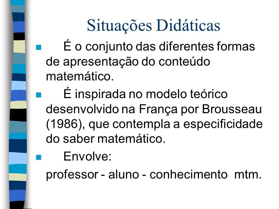 Situações Didáticas Prof. Rita de Cássia S. Eger email - rita@mtm.ufsc.br