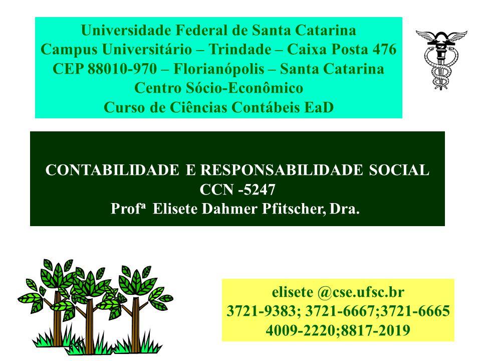 CONTABILIDADE E RESPONSABILIDADE SOCIAL CCN -5247 Prof a Elisete Dahmer Pfitscher, Dra.