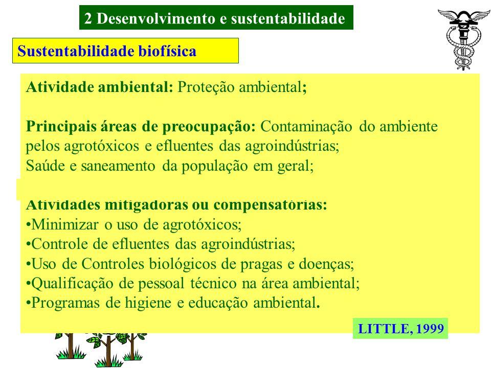 2 Desenvolvimento e sustentabilidade Sustentabilidade biofísica LITTLE, 1999 Preocupação quanto ao uso de agrotóxicos, ao desmatamento e a proteção da