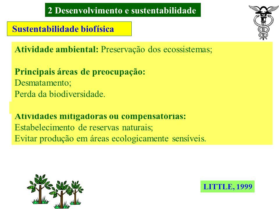 2 Desenvolvimento e sustentabilidade Sustentabilidade biofísica Atividade ambiental: Conservação dos recursos naturais; Principais áreas de preocupaçã